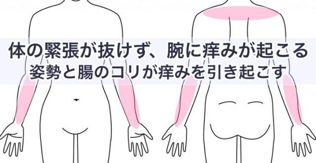 体の緊張が抜けず、腕に痒みが起こる